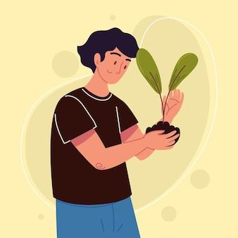 Man met een plant