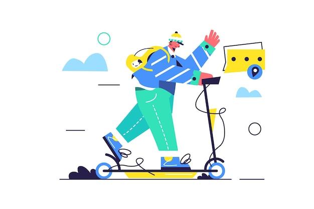 Man met een rugzak rijdt een elektrische scooter door de straat, een man in een hoed geïsoleerd op een witte achtergrond,