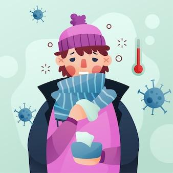 Man met een verkoudheid omringd door coronavirusbacteriën