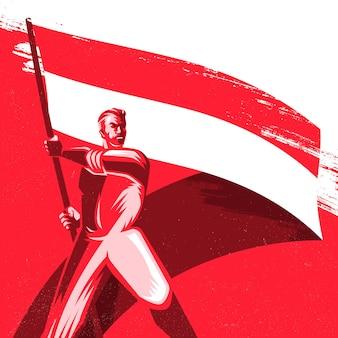 Man met een vlag van indonesië met trots vectorillustratie