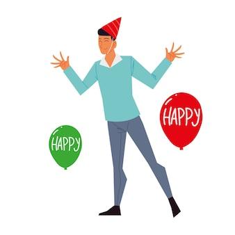 Man met feest hoed ballonnen decoratie en feest