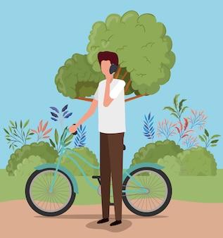 Man met fiets, voertuig fiets cyclus levensstijl sport en transport