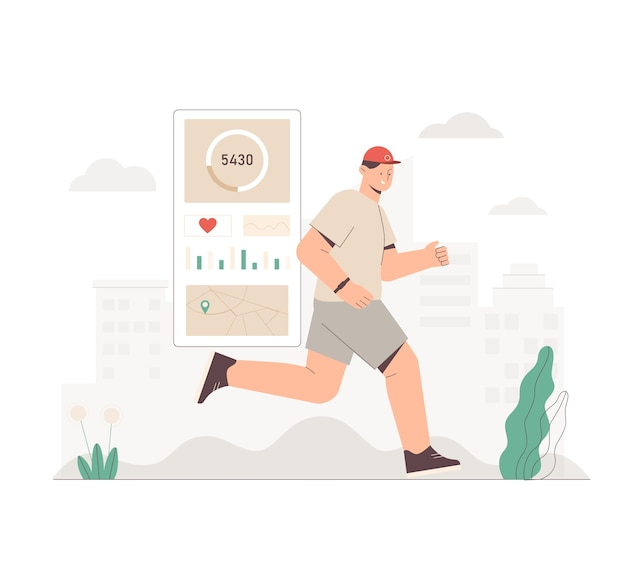 Man met fitnessband of tracker die in het stadspark op stadsachtergrond loopt
