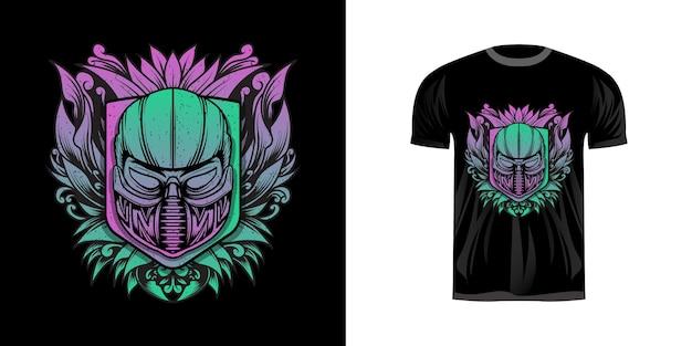 Man met gasmasker in neonkleur voor t-shirtontwerp