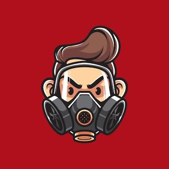 Man met gasmasker mascotte