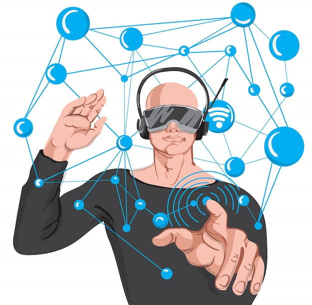 Man met geavanceerde technologie vr-bril.