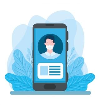 Man met gezichtsmasker in smartphone illustratie ontwerpen