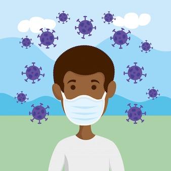 Man met gezichtsmasker voor covid19 pandemie