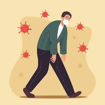 Man met gezichtsmasker ziek en moe voelen