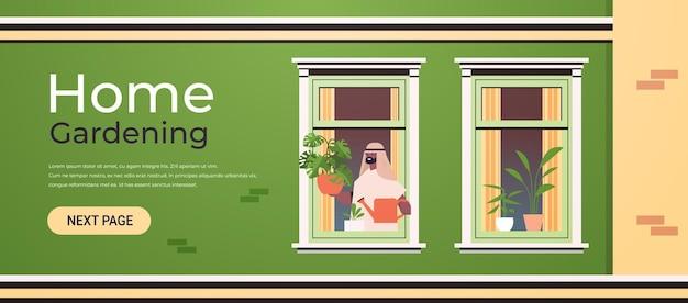Man met gieter en gieten planten huis tuinieren concept