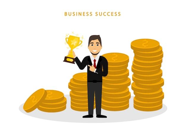 Man met gouden beker in de buurt van vele munten. zakelijk succes. trofee. vlakke stijl.