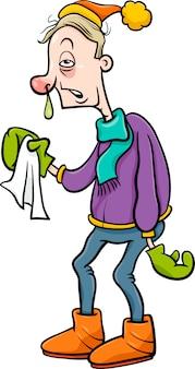Man met griep cartoon afbeelding