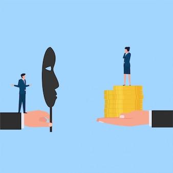 Man met groot nepmasker die hulp biedt aan vrouw met muntmetafoor van social engineering en hack. zakelijke platte concept illustratie.