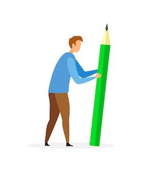 Man met groot potlood plat