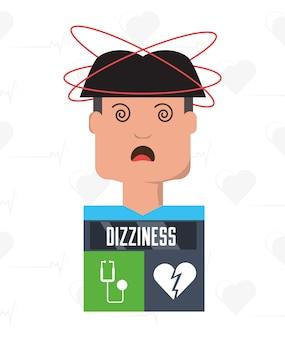 Man met hartaanval symptomen en conditie