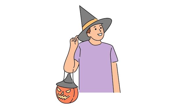 Man met heks halloween kostuum