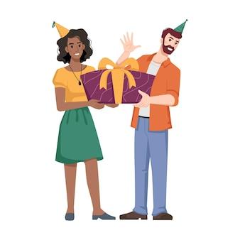 Man met hoed geeft cadeau met strik aan afro-amerikaans meisje in kegelvorm vakantiepet geïsoleerde platte cartoon
