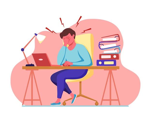 Man met hoofdpijn migraine met haar hoofd cartoon vectorillustratie benadrukt ongelukkig overstuur?