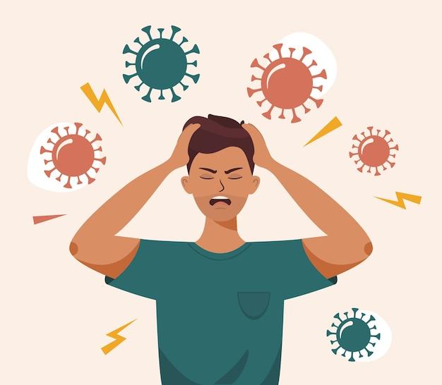 Man met hoofdpijn vanwege een virus