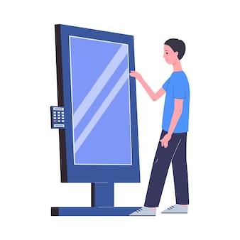 Man met interactieve kioskstandaard met groot digitaal touchscreen-display