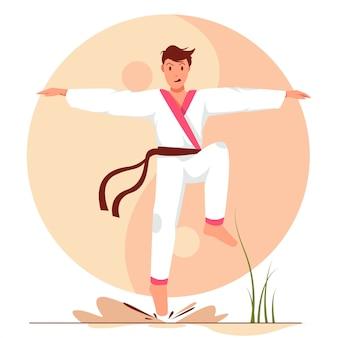 Man met karate vlakke positie vlakke afbeelding