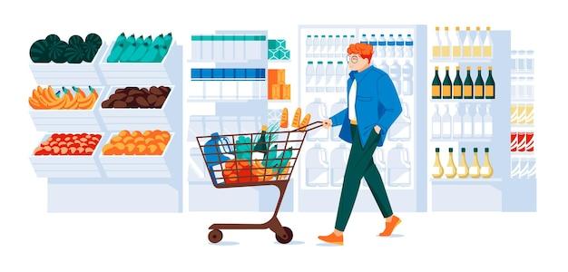 Man met karretje in de supermarkt vitrines koelkast planken van goederen houten kisten van veg