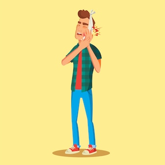 Man met kiespijn illustratie