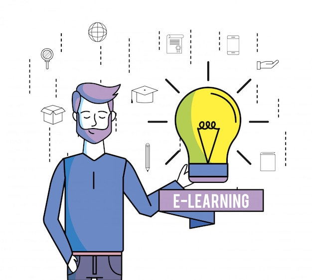 Man met lampidee en online studietechnologie