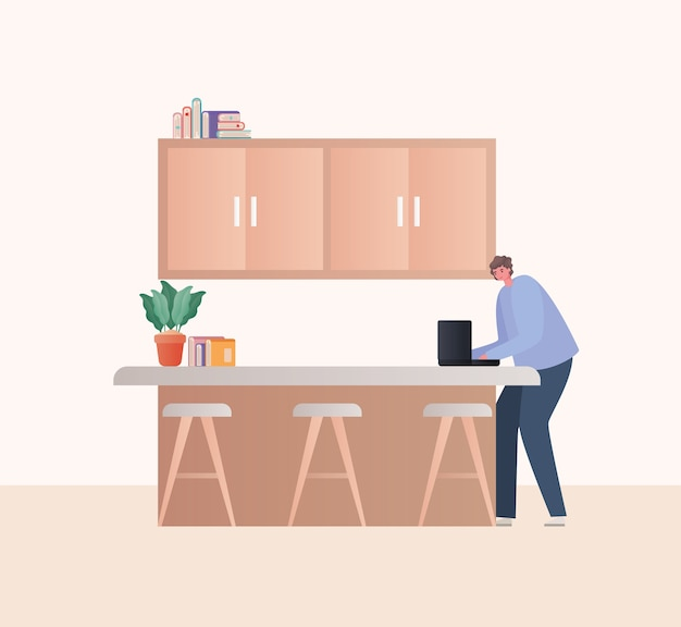 Man met laptop aan het werk bij keukenontwerp van het thema werk vanuit huis