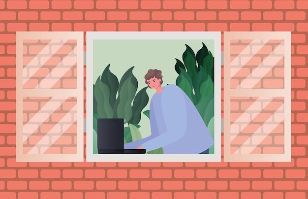 Man met laptop bezig met raamontwerp van het thema werk vanuit huis