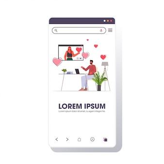 Man met laptop chatten met vrouw in webbrowservenster online dating app sociale relatie concept smartphone scherm kopie ruimte illustratie