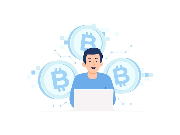 Man met laptop mijnbouw bitcoin cryptocurrency digitale valuta blockchain concept illustratie