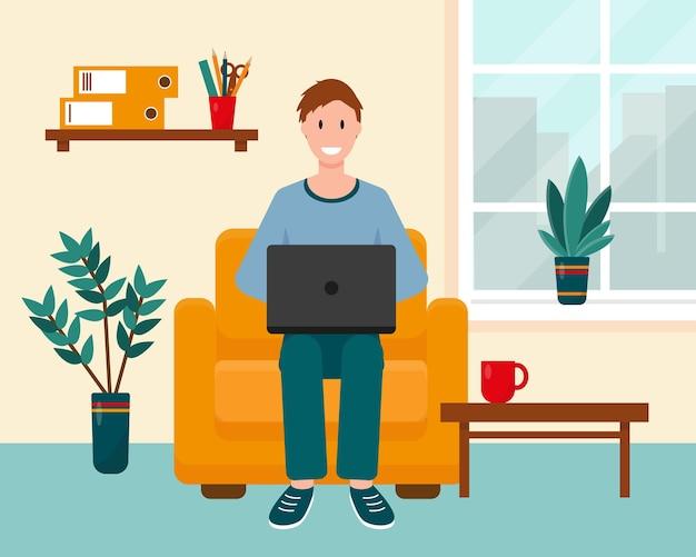 Man met laptop op de fauteuil thuis bij het raam. woonkamer interieur met werkplek.
