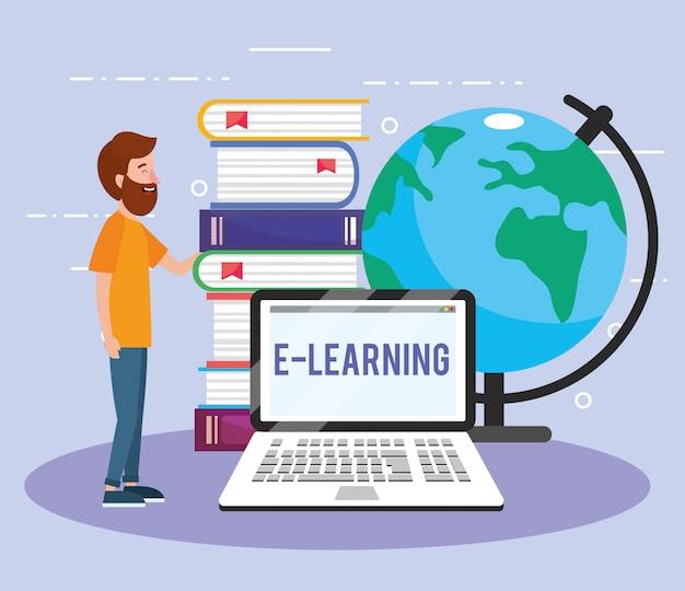 Man met laptoptechnologie en boeken en wereldkaart