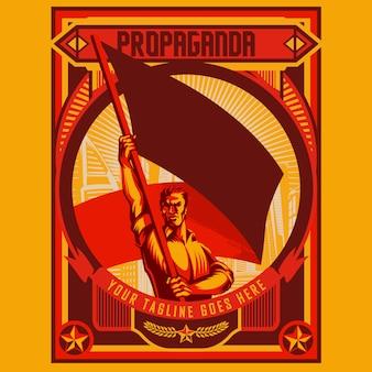 Man met lege vlag poster illustratie sjabloon