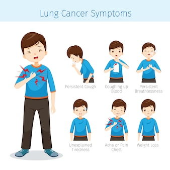 Man met longkanker symptomen