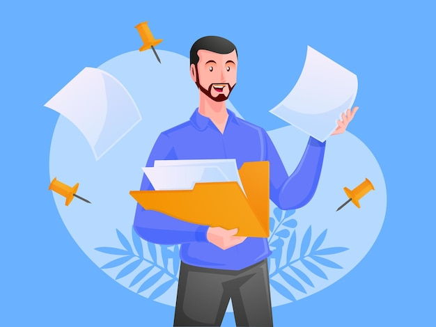 Man met map met documenten bedrijfsadministratie en gegevensopslagconcept