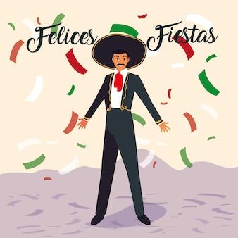 Man met mariachi kostuum op confetti achtergrond