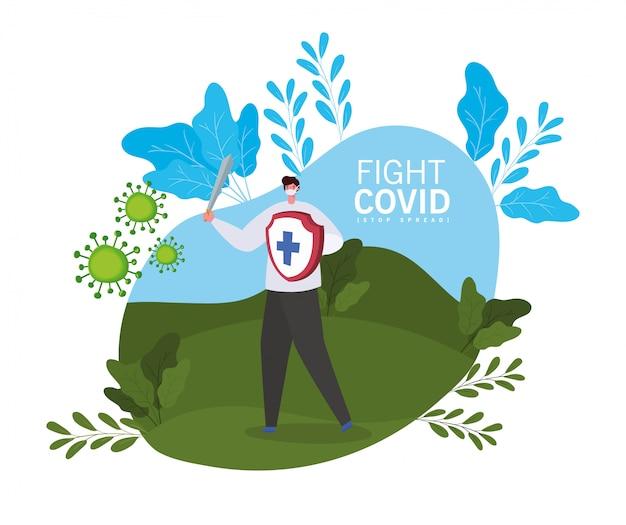 Man met masker zwaard en schild met cross fight virus