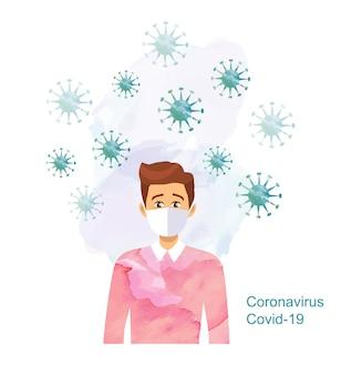 Man met medische masker, coronavirus concept, stop virus covid19, blijf thuis, aquarel geschilderd coronavirus, vectorillustratie.