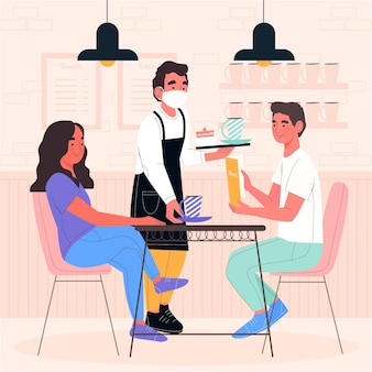Man met medische masker en client