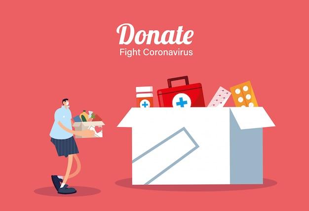 Man met medische maskers die medicijnen doneren, covid 19