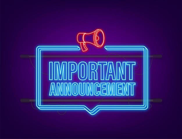 Man met megafoon met belangrijke aankondiging. megafoon banner. neon-stijl. webdesign. vector voorraad illustratie.