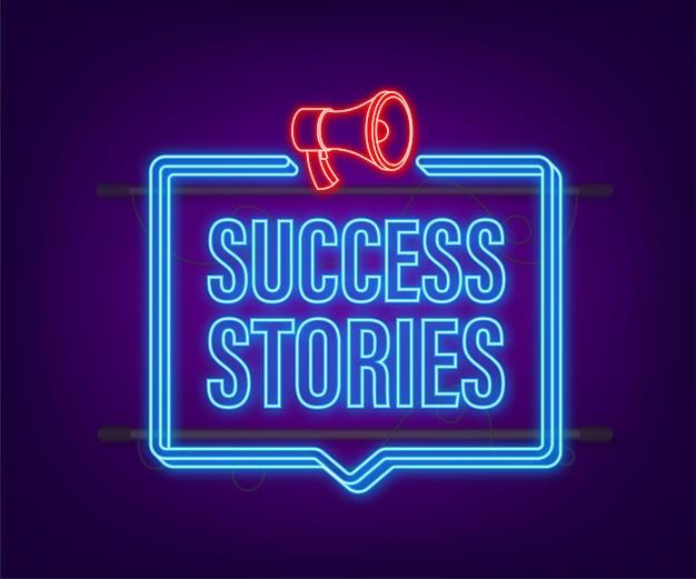 Man met megafoon met succesverhalen. neon-stijl. vector voorraad illustratie.
