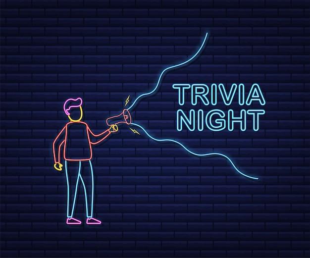 Man met megafoon met trivia nacht. megafoon banner. webdesign. neon-stijl. vector voorraad illustratie.