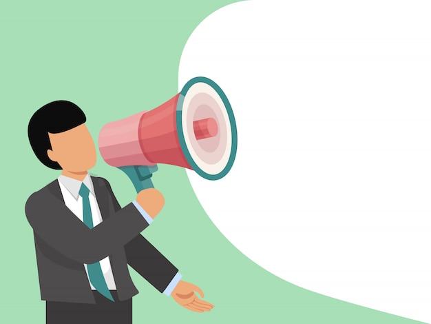 Man met megafoon. zakenman communiceert via een megafoon. de mens in kostuum met megafoon verzendt bellenbericht