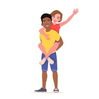 Man met meisje op schouders
