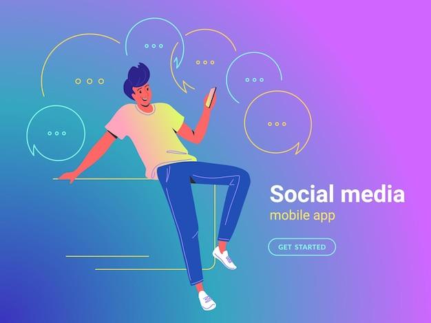 Man met mobiele app concept vectorillustratie van jonge kerel zitten met smartphone met behulp van mobiele app voor sms'en en instant messages in sociale media. gelukkige heldere mensen op gradiëntachtergrond