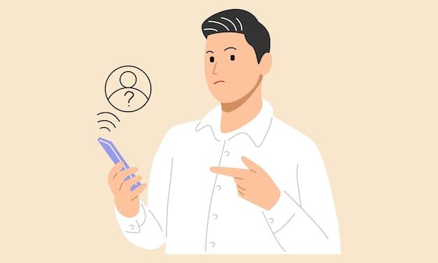 Man met mobiele telefoon smartphone met vreemd oproepscherm