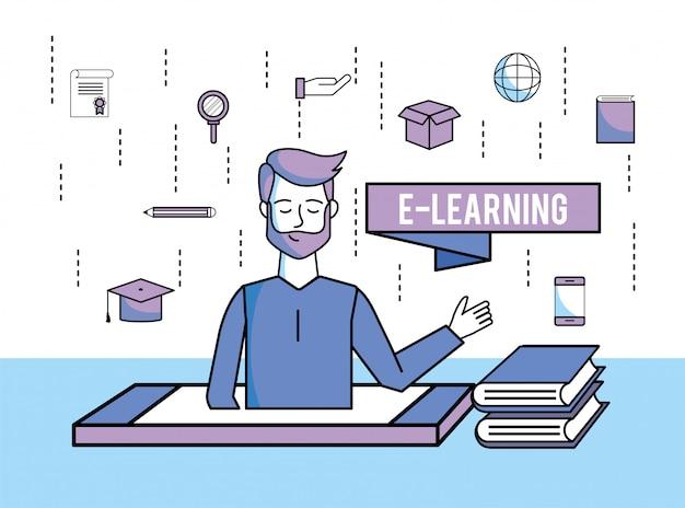 Man met onderwijsboeken en smartphonetechnologie